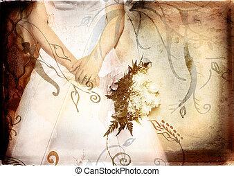grunge, bruid, met, rozen