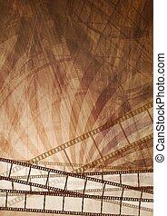 grunge, brun, filmstrip, abstrakt, bakgrund