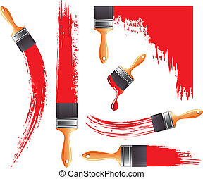 Grunge smears and brush with red paint vector set