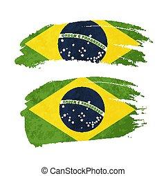 Grunge brush stroke with Brazil national flag on white