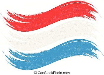 Grunge Brush Stroke With National Flag Of Luxembourg Isolated On A White Background. Vector Illustration.
