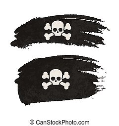 Grunge brush stroke with pirate flag on white