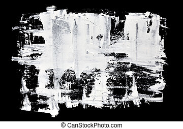 Grunge brush strokes of white oil paint