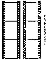 grunge, brzeg, film, milimetr, fotografia, 35, wektor,...