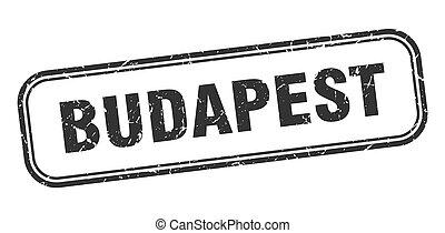 grunge, budapest, negro, señal, stamp., aislado