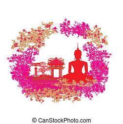 grunge, buddha, silueta, paisaje, textura