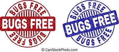 Grunge BUGS FREE Scratched Round Stamp Seals
