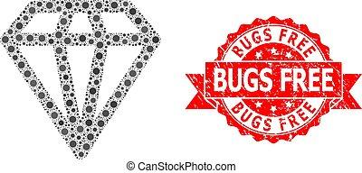 Grunge Bugs Free Stamp and Covid Virus Mosaic Diamond - ...