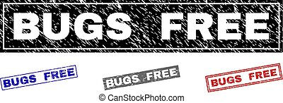 Grunge BUGS FREE Textured Rectangle Stamp Seals