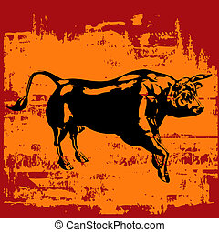 Grunge Bull Background - Black Bull over a grunge background