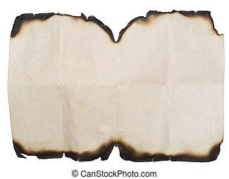 grunge burnt paper on white