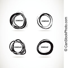 Grunge bursh circle logo set