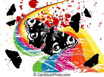 Grunge butterflies on a rainbow