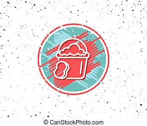 Cleaning bucket with sponge line icon.