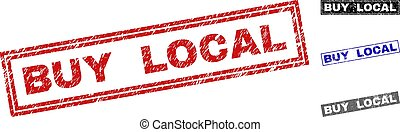 Grunge BUY LOCAL Textured Rectangle Watermarks