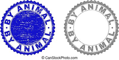 Grunge BY ANIMAL stamp seals isolated on a white background. Rosette seals with grunge texture in blue and grey colors. Vector rubber overlay of BY ANIMAL text inside round rosette.