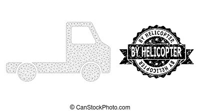 Grunge By Helicopter Ribbon Stamp and Mesh Network Delivery Car Chassi