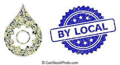 Grunge By Local Stamp Seal and Military Camouflage Composition of Oil Industry Gear