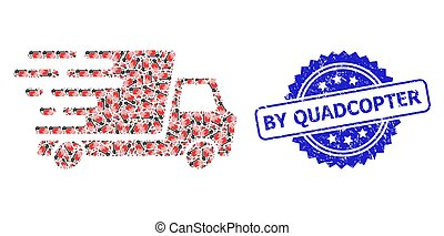 Grunge By Quadcopter Seal and Recursion Delivery Car Icon Collage