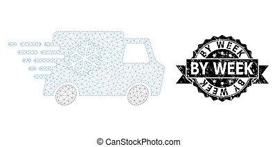 Grunge By Week Ribbon Stamp and Mesh 2D Refrigerator Car