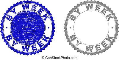 Grunge BY WEEK Scratched Stamp Seals