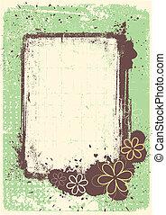 grunge, cadre, décoration, vecteur, fond, floral, célébrer