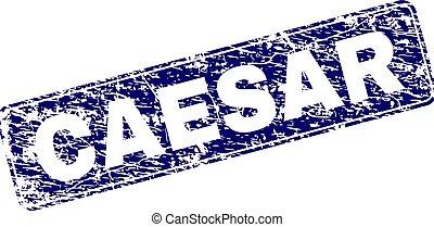 Grunge CAESAR Framed Rounded Rectangle Stamp - CAESAR stamp...