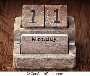 Grunge calendar showing Monday the eleventh