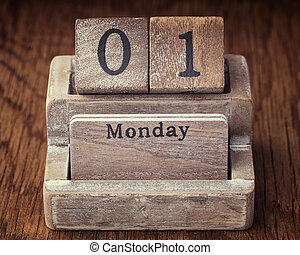 Grunge calendar showing Monday the first