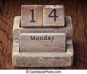 Grunge calendar showing Monday the fourteenth