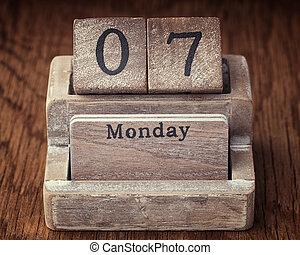Grunge calendar showing Monday the seventh
