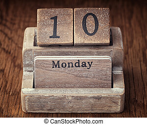 Grunge calendar showing Monday the tenth