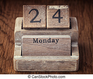 Grunge calendar showing Monday the twenty fourth