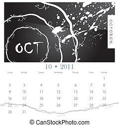 grunge, calendrier, octobre, vigne