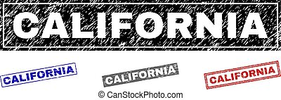 Grunge CALIFORNIA Scratched Rectangle Stamps