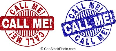 Grunge CALL ME! Scratched Round Stamp Seals