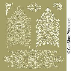 Grunge Cambodian floral pattern