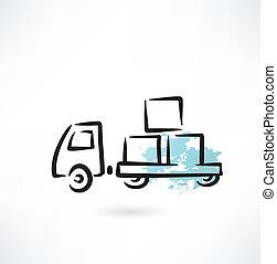 grunge, camião, ícone
