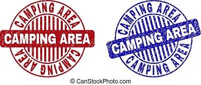 grunge, campeggio, zona, graffiato, rotondo, francobollo, sigilli