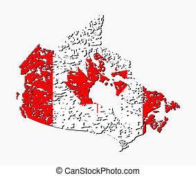 Grunge Canada map flag illustration