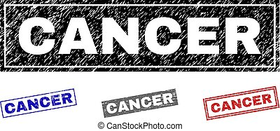 Grunge CANCER Textured Rectangle Stamps