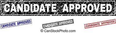 Grunge CANDIDATE APPROVED Scratched Rectangle Stamps