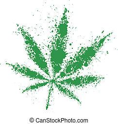 grunge, cannabis, grünes blatt, vektor, abbildung