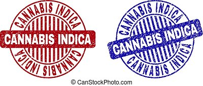 Grunge CANNABIS INDICA Scratched Round Stamps