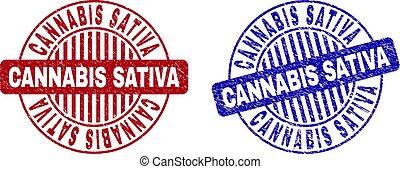 Grunge CANNABIS SATIVA Textured Round Watermarks
