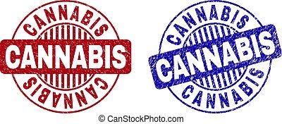Grunge CANNABIS Textured Round Stamp Seals