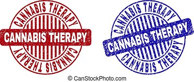 Grunge CANNABIS THERAPY Scratched Round Watermarks
