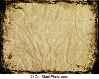 Grunge canvas with border - Grunge style crumpled canvas ...