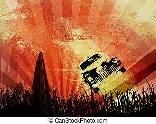 Grunge car and city