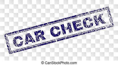 Grunge CAR CHECK Rectangle Stamp